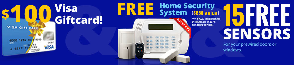 $100 Visa Giftcard! Free Home Security System 15 Free Sensors